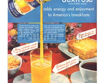 1948 Dextrose Vintage Ad, Advertising Art, 1940's Breakfast, Orange Juice, Buttered Toast, Great for Framing or Collage.