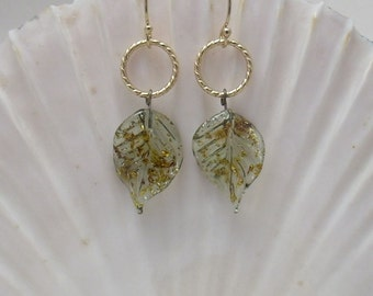 Glass Leaf Earrings, Gold-filled