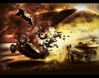 Vintage Automotive Art  Grand Prix Crash 12x18 Metallic Print