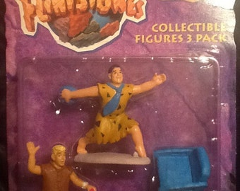 "The Flintstones Movie 3 pack 3"" Figures Fred Barney Bamm Bamm MOC"
