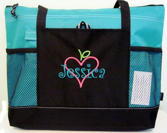 Free shipping - Personalized Teacher Tote Bag - Apple Books Heart - monogrammed