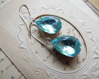 aqua earrings, Turquoise earrings, blue topaz earrings, blue crystal earrings, aquamarine earrings, Downton Abbey jewelry.