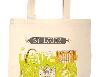 St Louis Mo Tote Bag-City Tote-City Bag-KC-Any City Tote-Lime-Orange-Grey--Personalized-Custom City Tote Bag