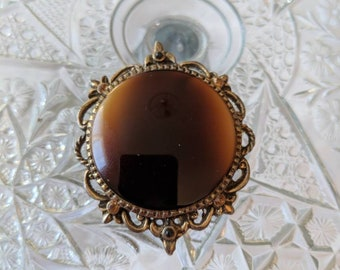 Large Center Tiger Eye Glass Pendant Brooch