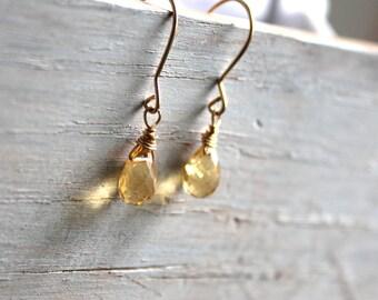 Citrine Earrings - Drop Earrings- Dainty Earrings- November Birthstone-14k gold fill- Small Earrings- Gemstone Jewelry-Citrine Jewelry