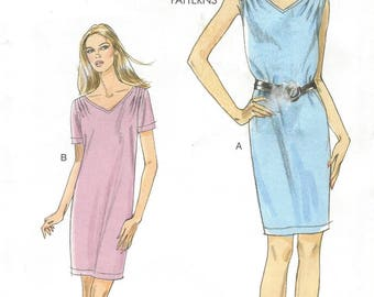 OOP Vogue Sewing Pattern V8647 Womens T Shirt Dress Easy Summer Dress Pullover Dress Size 16 18 20 22 24 Bust 38 40 42 44 46 Very Easy Vogue