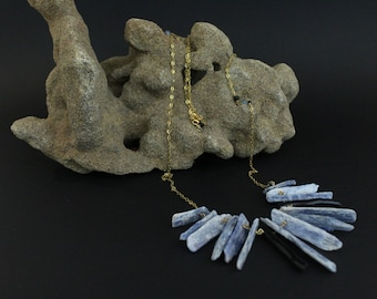 handmade unique goldplated silver necklace with raw kyanite and black pearl