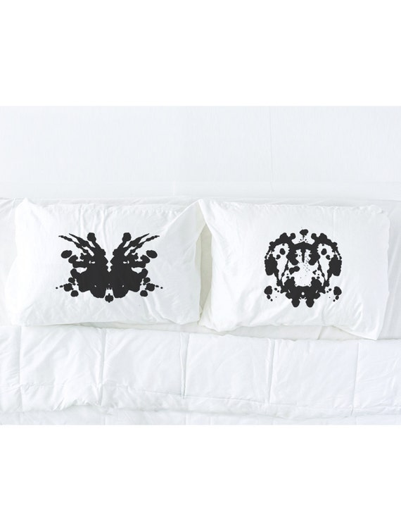 Rorschach Test (3+4) Pillowcase Set in black, Wedding Gift, His and Hers Pillows, Couples Pillowcases, Pillow Talk