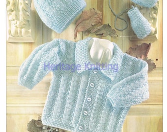 jacket hat and mittens dk knitting pattern 99p