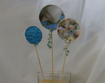 3 decorative picks with the Sea 1 pattern