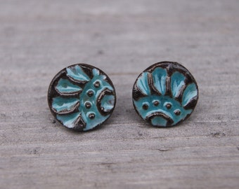 Blue ceramic earrings, blue ceremic studs, blue ornament studs, Big studs, blue studs, Ceramic Earrings, bohemian jewelry, sensitive ears