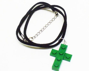 Mini Green Cross Pendant and Necklace