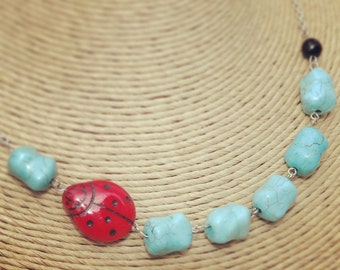 Teal Ladybug Necklace