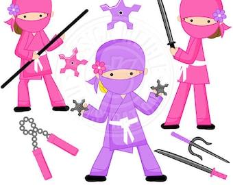 Girl Ninja Cute Digital Clipart - Commercial Use OK - Pink Ninja Graphics - Girl Ninja Clipart, Martial Arts, ninja clip art