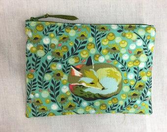 Tula Pink Fox Nap Medium Zipper Bag, Gadget Bag, Cosmetic Bag, Travel Bag