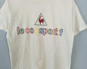 Vintage 90s Le Coq Sportif Embroidery / Big Logo / Spell Out / Colorblock / Multicolor tshirt for Streetwear / 90s kid fashion