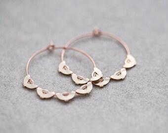 Boho Hoop Earrings Rose Gold Brass Scalloped Edge Hoops Modern Jewelry Bohemian style