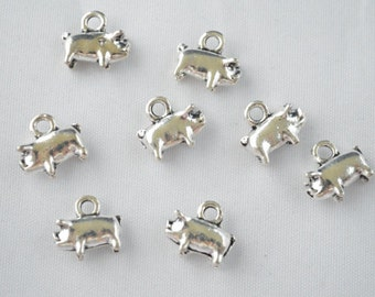 Pig Charms, Pig Pendant, Piggy Charms, Piglet Charms, Piggy Pendant, Farmer Charms, Farmer Pendant, Farmer Jewellery, Farmyard, Oink
