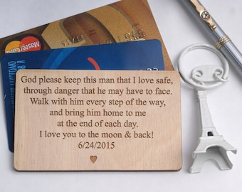 Personalized Wallet Card, Custom Wallet Insert, Engraved Wallet Card, Gift for Men, Deployment Gift,  Gift for Him, 5th  Anniversary Gift,