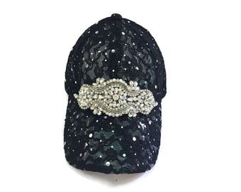"Women's Baseball Hat, Golf Visor Hat, Mother's Day, Golf Gift, Baseball Cap in Black Lace - ""LACE BEAUTY"""