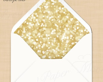 White Gold Sparkles Envelope Liners (A7, A6, A2 and 4Bar): Printable, Instant Download