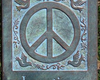 Imagine Peace Concrete Garden Plaque