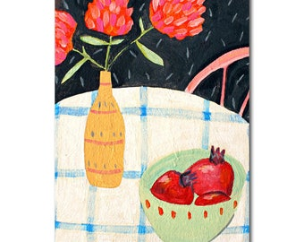 Still Life Table Setting original painting Pomegranate Fruit and Flowers ORIGINAL Acrylic painting by artist Tascha small canvas original