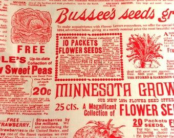 Lakehouse Fabrics Favorites Newsprint Red - Summer Fruit Ads Fabric - Red Newspaper Print Fabric - Discontinued Garden Fabric - Josiemart