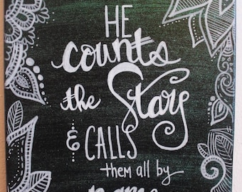 He Counts the Stars and Calls Them All By Name // Psalm 147:4 // Scripture Doodle