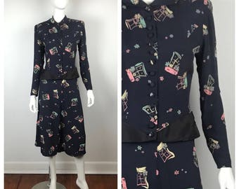 Vintage 1940s Suit / As-Is 40s Novelty Print Skirt Suit Set / Small