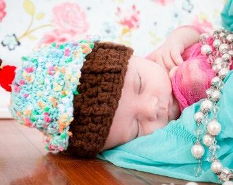 Baby Cupcake Hat, Crochet Cupcake Baby Hat, Baby Girl Hat, Crochet Newborn Baby Hat, Crochet Baby Girl Hat, Cupcake Baby Clothes