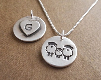 Personalized Small Sheep Family Necklace, Ewe Lamb Ram Jewelry, New Family Necklace, Fine Silver, Sterling Silver Chain, Made To Order