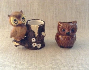 Vintage Owl Toothpick Holders Group of 2 Stoneware