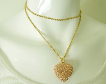 1980s Ciner Pink Pave Rhinestone Heart Pendant Runway Couture