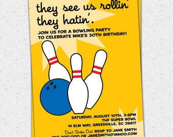Bowling Birthday Invitation, Rollin' and Hatin', Vintage, Retro, Adult or Teen, Printable DIY Digital File