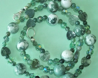 Gemstone Jewelry Necklace - Tree Agate, Moss Agate and Swarovski Crystal Gemstone Beaded Necklace