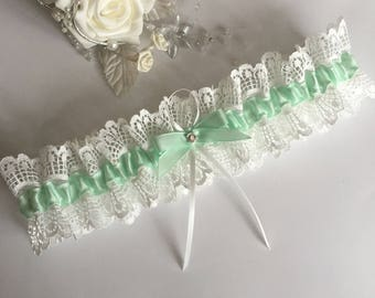 Wedding garter - Green & Ivory, available in S/M and plus/large sizes