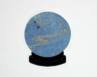 Sew on Patch // Crystal Ball Patch // Applique Patch in Sparkly Blue and Black Velvet