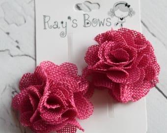 Burlap roses..............hair flower, hair clip, rose hair clip,