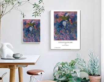 "A5, A4, A3 Limited Edition, signed art poster of original art ""L'Enfant Baudelaire"" modern art"