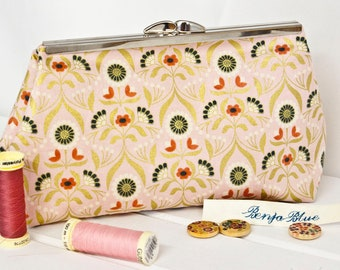 Clutch Bag - Purse - Hand Bag - Evening Bag - Wedding Bag - Handmade bag featuring beautiful stylised flower fabric with metallic accents
