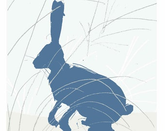 Illustrated 'Blue Hare In The Grass' paper print for wall