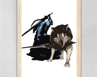 Wolf and Knight Artorias Fantasy Art - Low poly abstract minimalist Protector Wolf with sword and injured knight