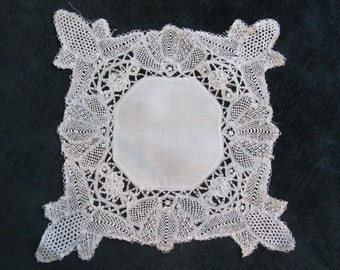 antique wedding hanky,, handworked lace, really fantastic