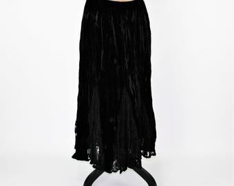 Black Velvet Maxi Skirt Large Long Black Skirt Gypsy Boho Lace Skirt Full Skirt Boho Clothing Womens Skirts Vintage Clothing Womens Clothing