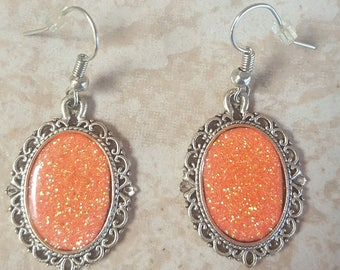 Peach Cameo Style Earrings