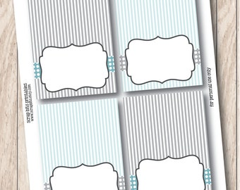 Instant Download . Printable Tent Cards with Blue & Grey Stripes, Printable Food Tent Cards, Buffet Labels or Place Cards