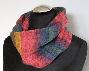 Infinity Scarf Cowl Wrap Green Blue Red Yellow Striped