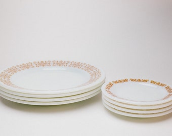 Vintage Pyrex Copper Filigree Plate Set - 4 Dinner Plates and Saucers