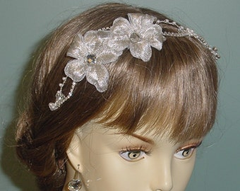 Wedding Hair Accessory  Bridal Headband Crystal Silver Hair Jewelry Embroidery Tiara Made to Order